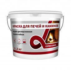 Краска для печей и каминов термостойкая силикатно-акриловая ALFAVIT, белая, 1.3 кг, серия Альфа (арт. 2 532) (РФ)