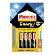 Момент Energy батарейки алкалиновые  тип ААА. 4 шт на блист. карте 2098785