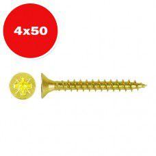 Саморез универсальный желтый цинк 4.0х50мм 25шт.
