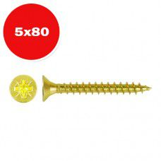 Саморез универсальный желтый цинк 5.0х80мм